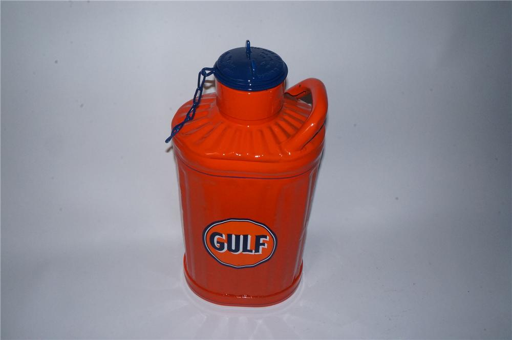 Sharp 1920's-30's Gulf Oil restored five gallon oil/gas can with threaded lid. - Front 3/4 - 162803