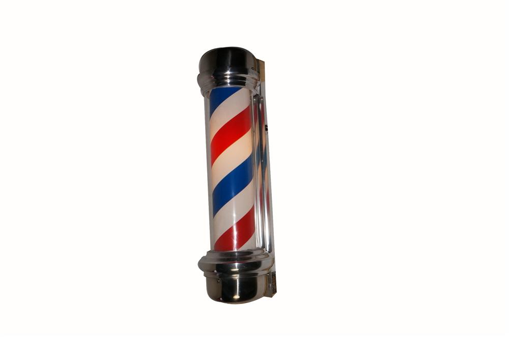 Impressive 1950's-60's chrome lighted Barber Shop pole found unused and in perfection condition. - Front 3/4 - 162804