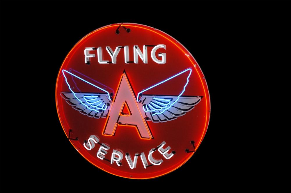 Absolutely stunning 1940's-50's Flying A Service single-sided porcelain with animated neon gas station sign. - Front 3/4 - 162855
