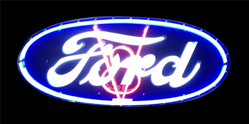 Impressive 1930's Ford V-8 single-sided neon porcelain dealership sign.  V-8 blinks on/off. - Front 3/4 - 162863