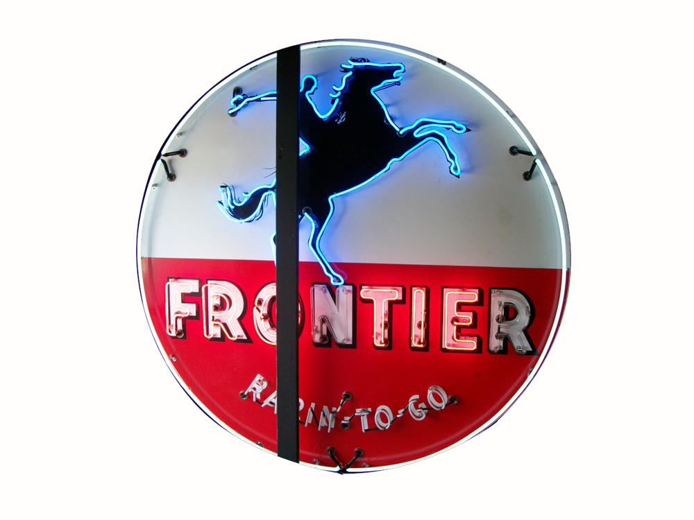 "Terrific 1950's Frontier Gasoline ""Rarin to Go"" single sided porcelain with neon service station sign. - Front 3/4 - 162872"