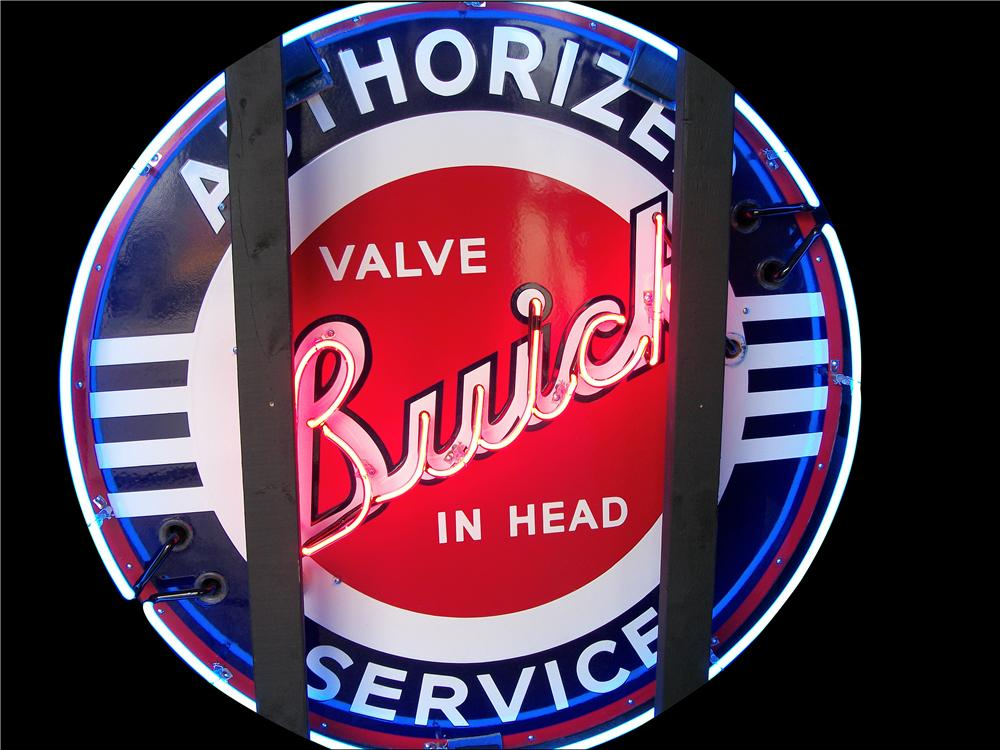 Superlative 1940's Buick Authorized Service double-sided porcelain dealership sign. - Front 3/4 - 162874