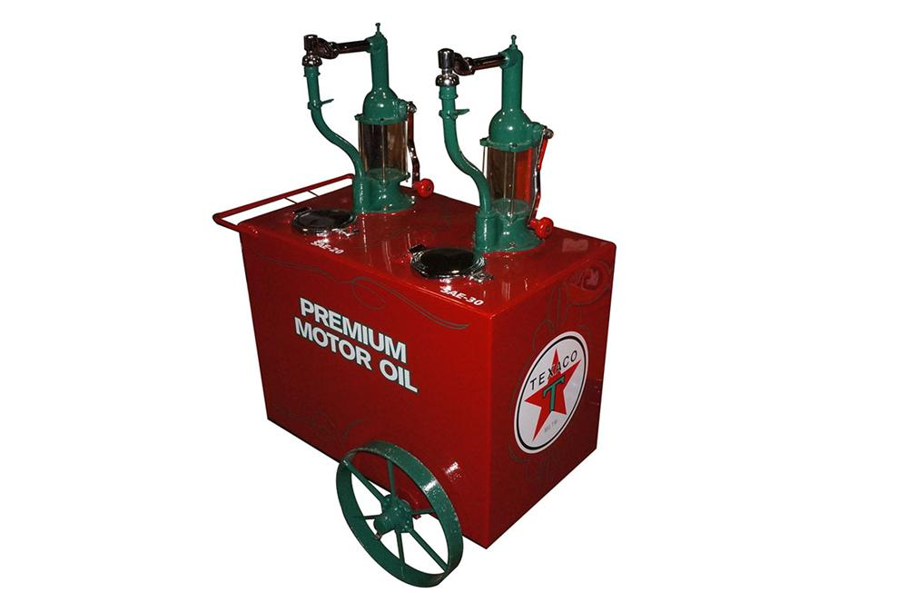 Terrific 1920's restored Texaco Oil filling station dual head oil dispenser cart. - Front 3/4 - 162887