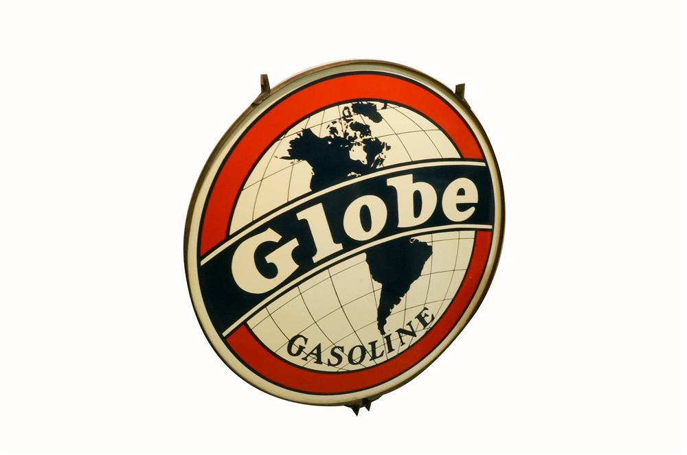 N.O.S. 1930's Globe Gasoline double-sided tin painted service station sign in the original hanger. - Front 3/4 - 162941