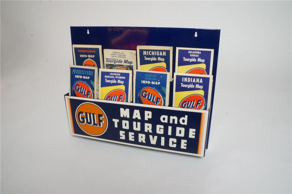 "Sharp N.O.S. circa 1940's Gulf Oil ""Map and Tour Guide Service"" service station metal map display. - Front 3/4 - 162946"
