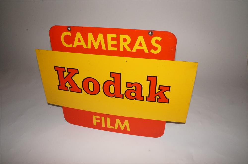 Seldom seen vintage 1960's Kodak Cameras - Film double-sided tin painted general store sign. - Front 3/4 - 162947