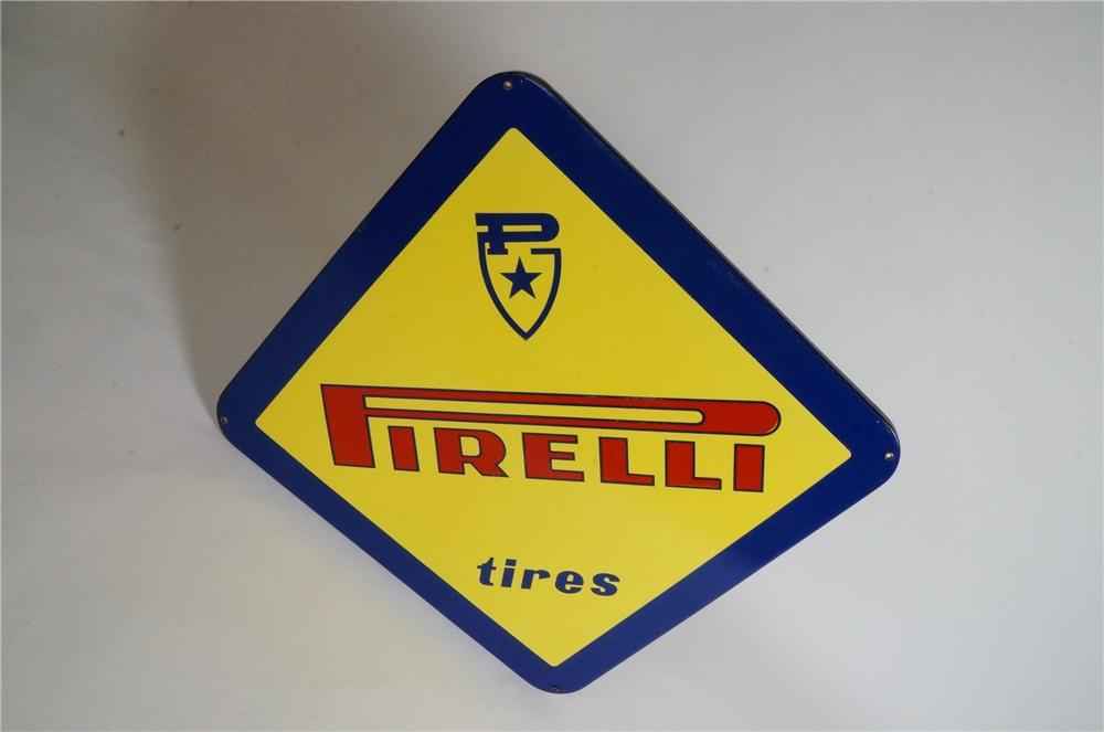 Tough to find late 1950's-60s Pirelli Tires single-sided porcelain dealership sign. - Front 3/4 - 162948