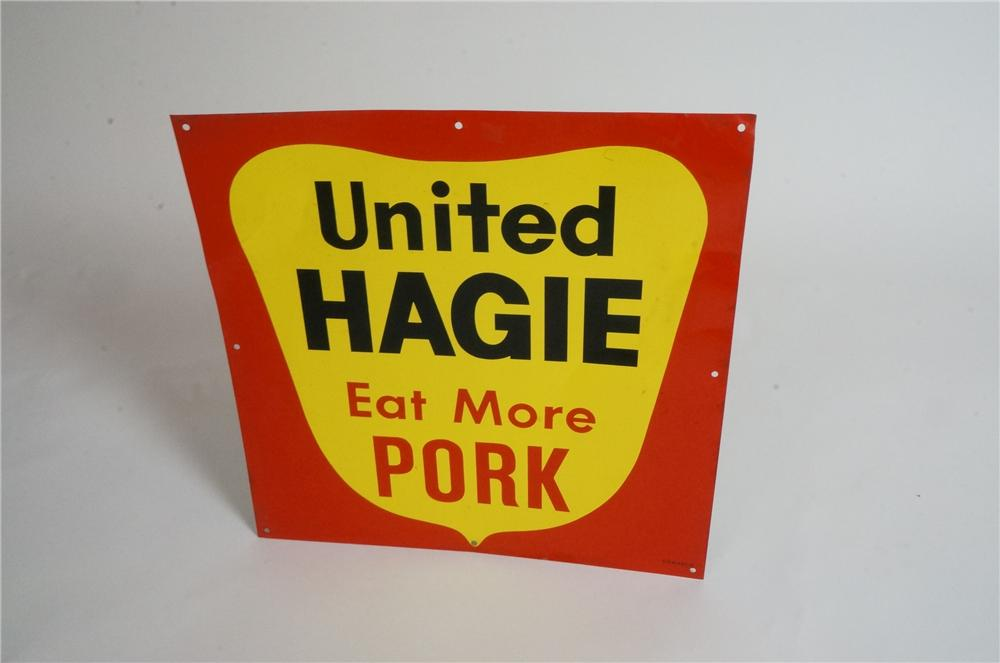 "Late 1950's United Hagie ""Eat More Pork"" singe-sided tin sign. - Front 3/4 - 162951"