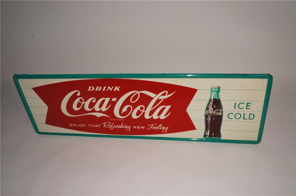 N.O.S. 1963 Coca-Cola self-framed green bordered fishtail sign with bottle graphic. - Front 3/4 - 162953
