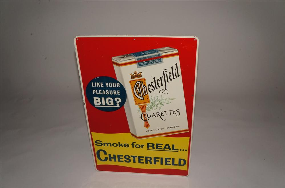 N.O.S. 1950's Chesterfield Cigarettes tin sign with cigarette pack graphic. - Front 3/4 - 162954