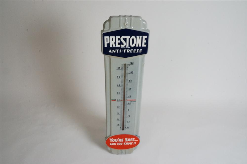 1940's Prestone Anti-Freeze over-sized porcelain automotive garage thermometer. - Front 3/4 - 162955