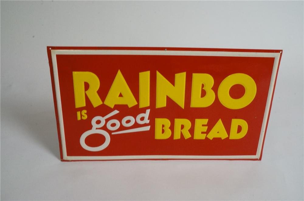 N.O.S. late 1950's-60's RainBo is good bread single-sided embossed tin sign. - Front 3/4 - 162975