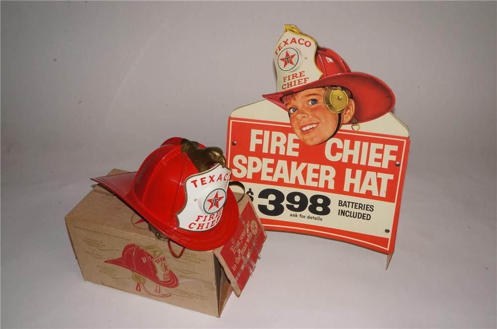 N.O.S. late 50's-early 60's Fire Chief Speaker Helmet still in the box with rare N.O.S. cardboard display. - Front 3/4 - 162977