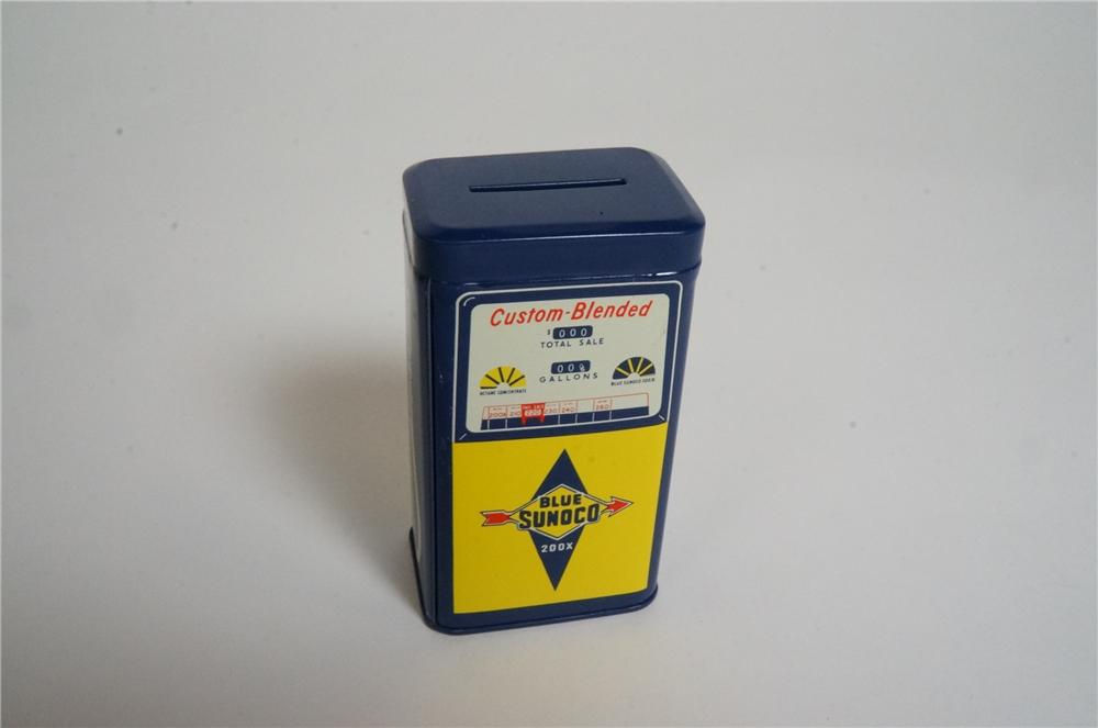 N.O.S. 1960's Sunoco Custom Blended gas pump shaped tin promotional coin bank found unused. - Front 3/4 - 162981