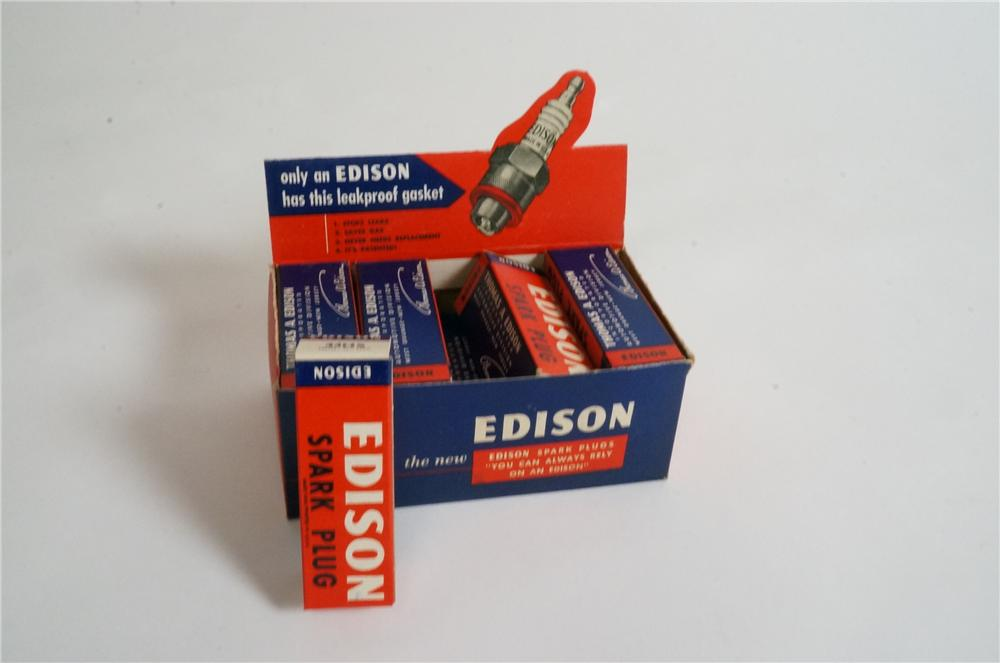 N.O.S. 1940's Edison Spark Plugs automotive garage counter-top display box will with original unused plugs! - Front 3/4 - 162985
