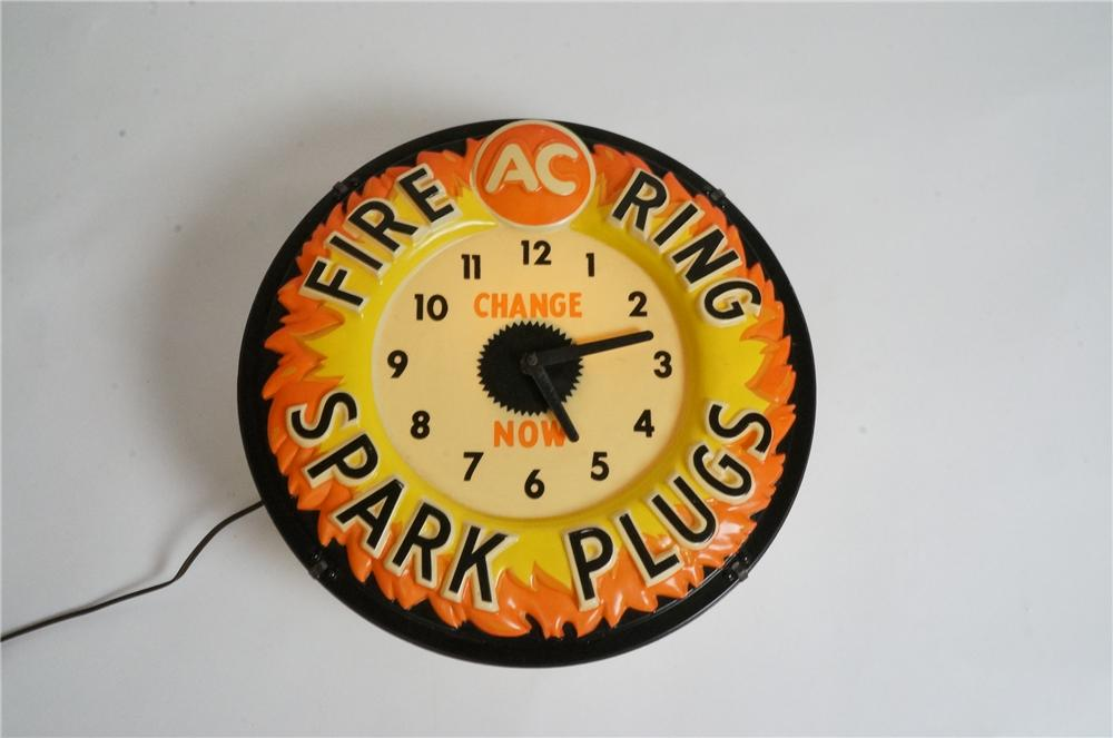 Sharp early 1960's AC Fire Ring Spark Plugs light-up garage clock. - Front 3/4 - 162990
