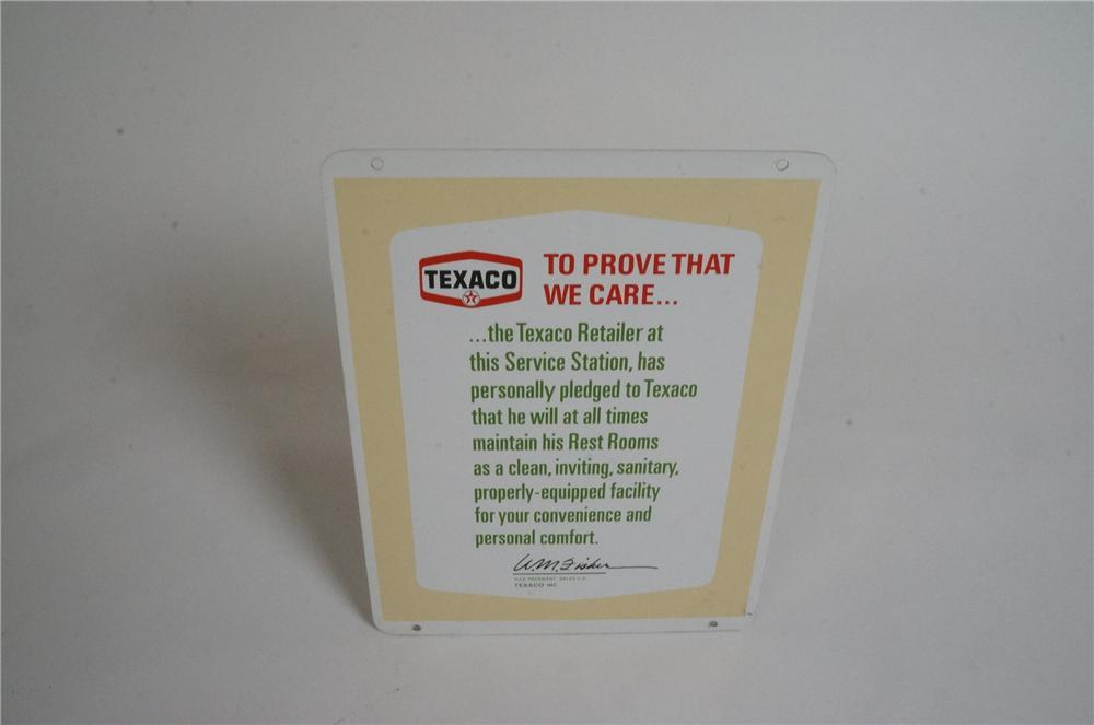N.O.S. vintage Texaco service station double-sided clean rest room station owner pledge tin sign. - Front 3/4 - 162993