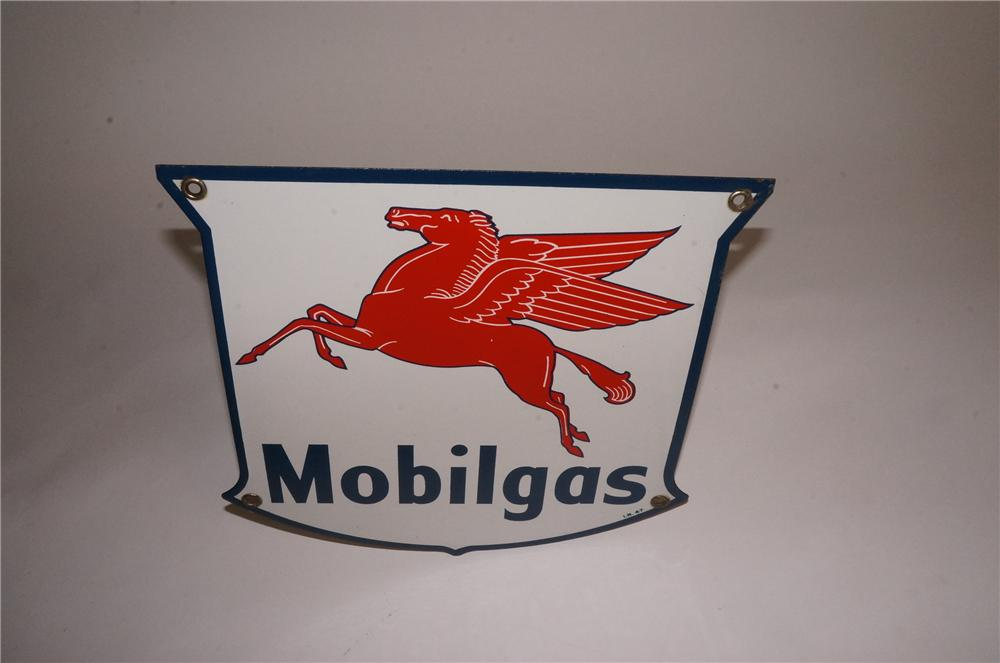N.O.S. 1947 Mobilgas single-sided shield shaped porcelain pump plate sign. - Front 3/4 - 162994
