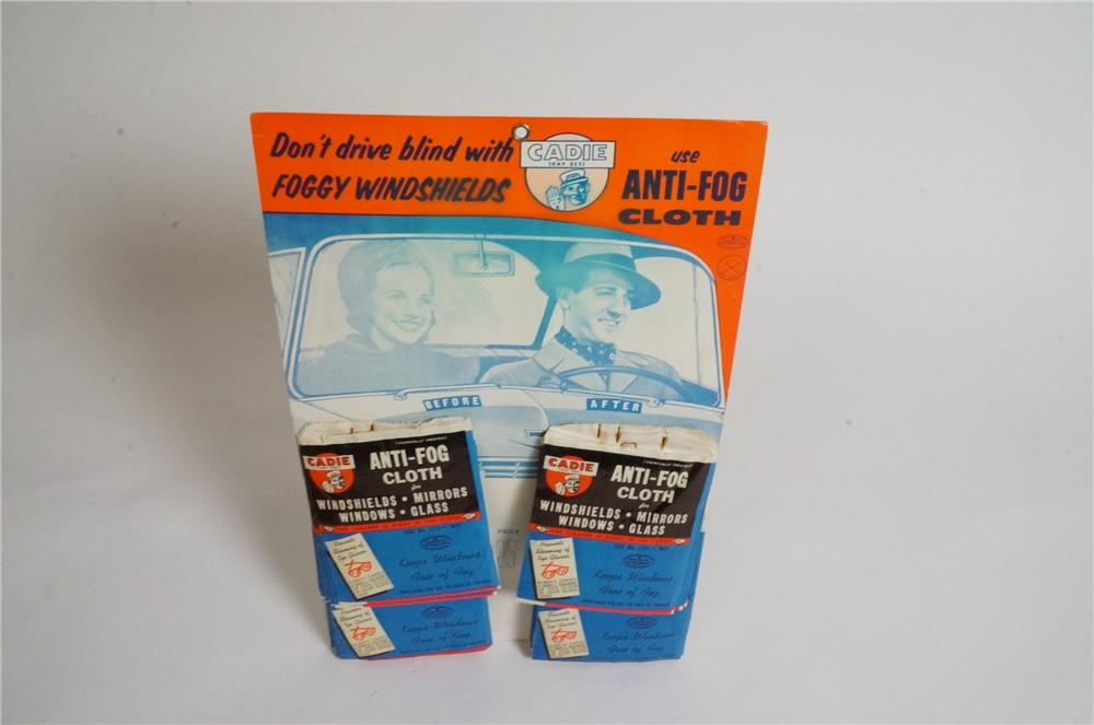 N.O.S. 1950's Cadie Anti-Fog windshield cloth counter-top cardboard display with built in easel back. - Front 3/4 - 162996