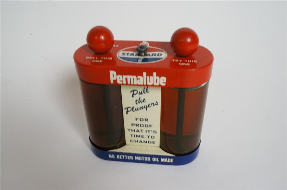Neat 1950's Standard Permalube Oil glass cylindered counter-top quality demonstration piece.  Quite unusual. - Front 3/4 - 163002