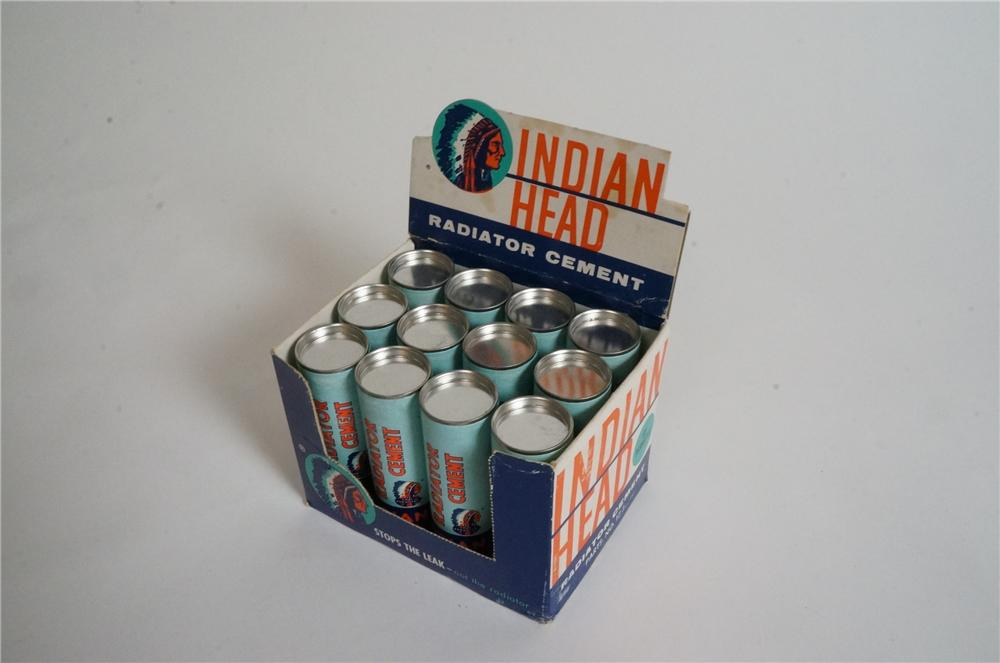 N.O.S. 1950's Indian Head Radiator Cement automotive garage counter-display still full of original product. - Front 3/4 - 163003