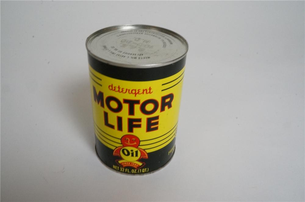 Good looking 1950's Motor Life Detergent Motor Oil metal quart can by Famous Lubricants of Chicago, Il. - Front 3/4 - 163006