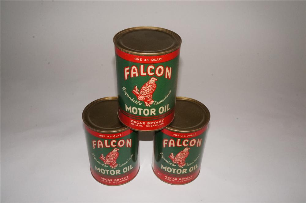 Lot of three N.O.S. 1930's-40's Falcon Motor Oil metal quart cans. - Front 3/4 - 163007