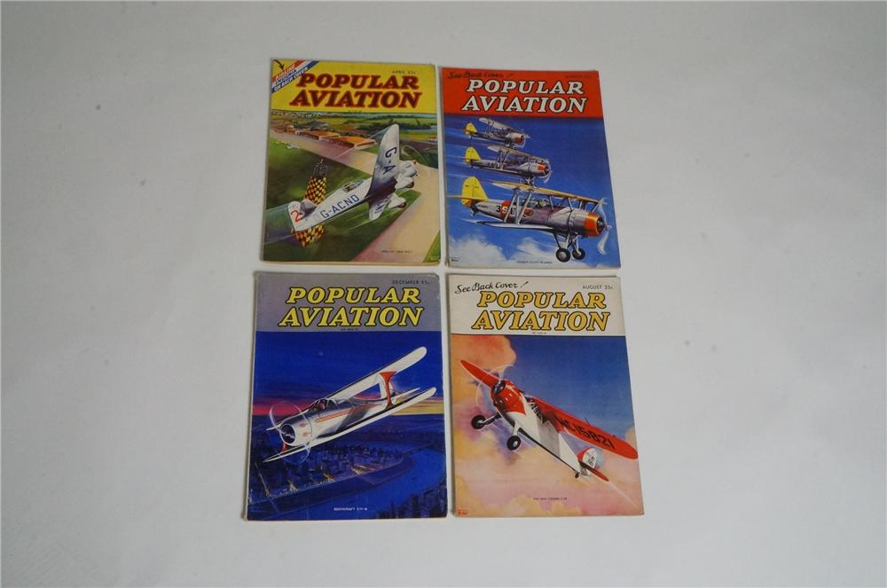 Lot of four 1936 Popular Aviation Magazine filled with great stories, photos, illustrations and details. - Front 3/4 - 163009