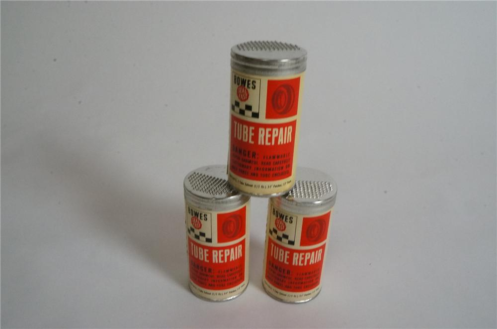 Lot of three N.O.S. Bowes Seal Fast Tube Repair tins.  Still full and unused. - Front 3/4 - 163013