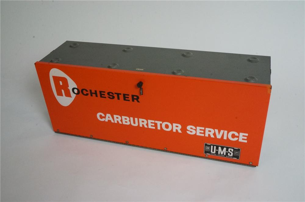 1960's GM Rochester Carburetor Parts service department display cabinet. - Front 3/4 - 163022