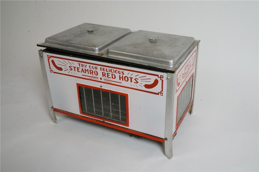 Very cool 1930's Steamed Red Hots porcelain coated diner hot dog advertisement warmer. - Front 3/4 - 163023