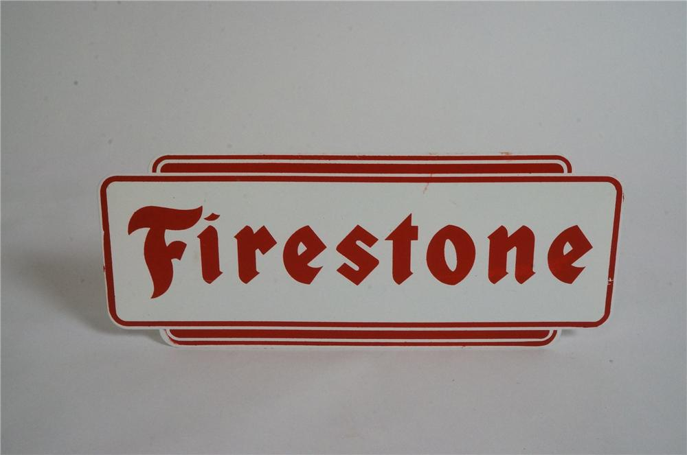 N.O.S.1960's  Firestone Tires die-cut tin garage sign. - Front 3/4 - 163025