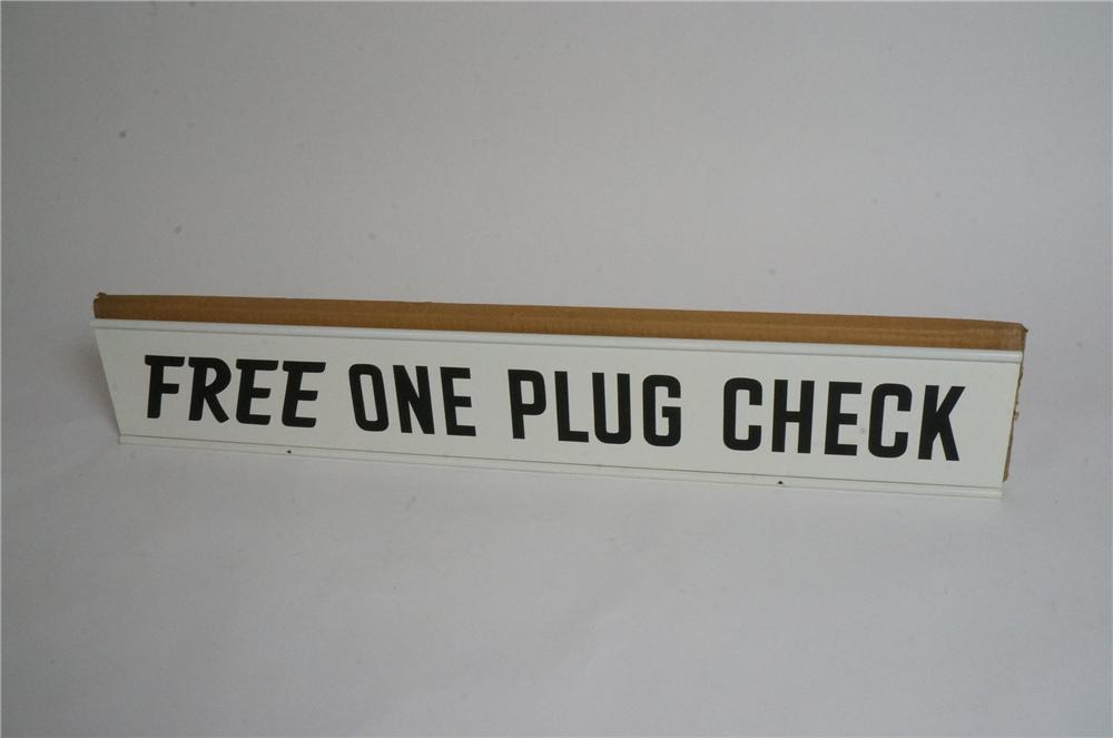 "N.O.S. Champion Spark Plugs ""Free One Plug Check"" double-sided tin garage sign still in the original box! - Front 3/4 - 163028"
