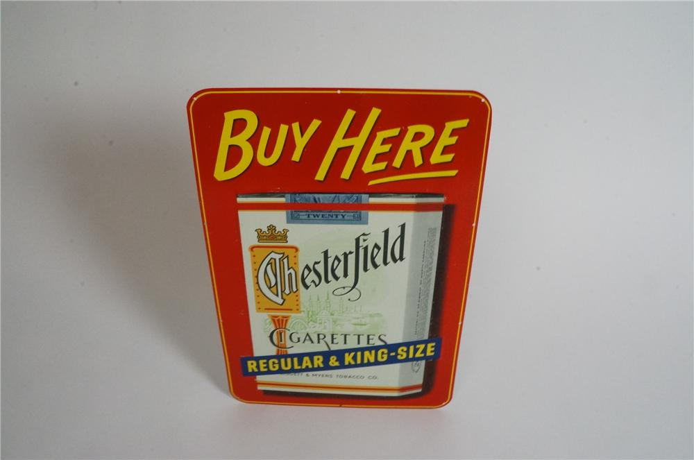N.O.S. 1950's Chesterfield Cigarettes tin sign with cigarette pack graphic. - Front 3/4 - 163030
