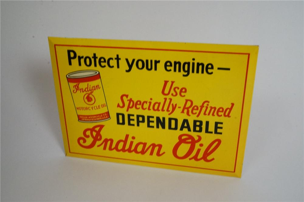 Museum quality 1940's Indian Motorcycle Oil tin litho counter top sign with built in easel back. - Front 3/4 - 163034