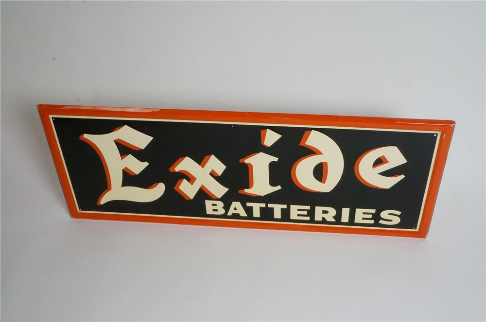 Superb N.O.S. 1947 Exide Batteries horizontal embossed tin automotive garage sign. - Front 3/4 - 163035