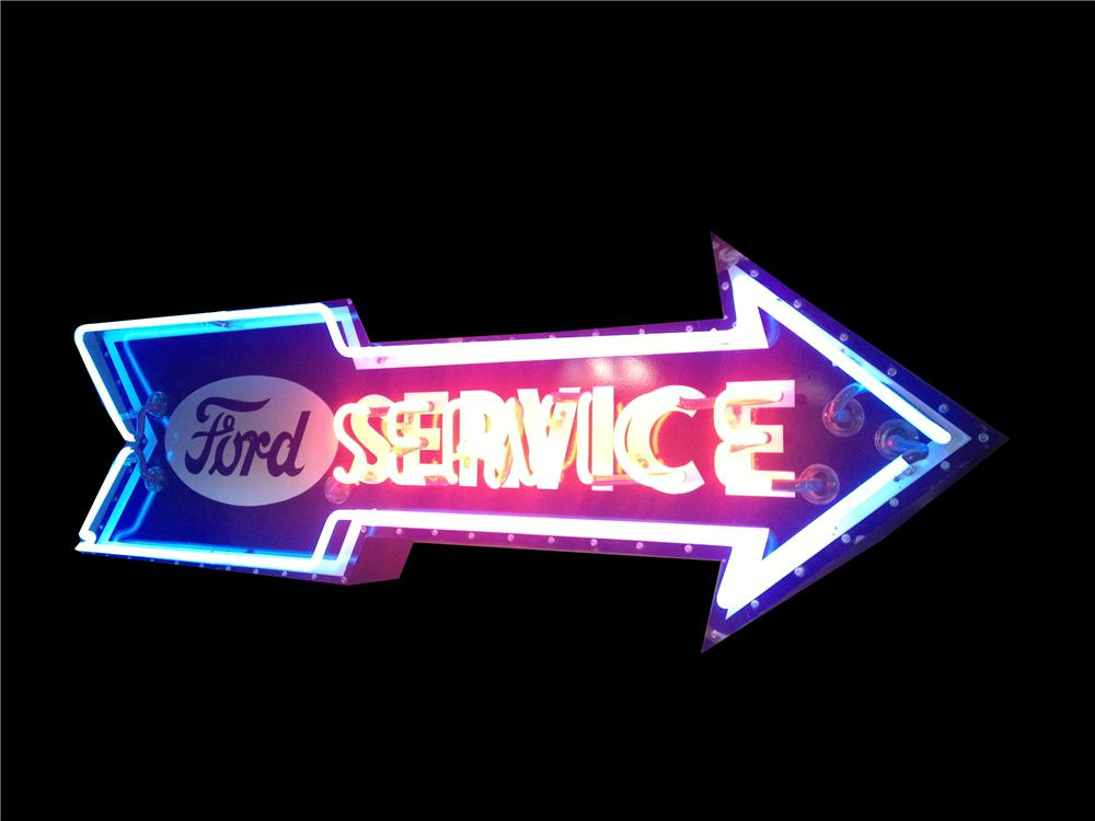 Killer 1930's-40's Ford Service single-sided neon porcelain arrow shaped dealership sign. - Front 3/4 - 163040