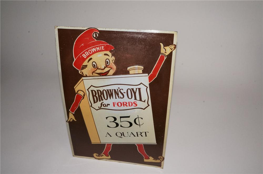 Cute late 1920's Brown's-Oyl for Fords single-sided tin sign featuring Brownie the elf. - Front 3/4 - 163049