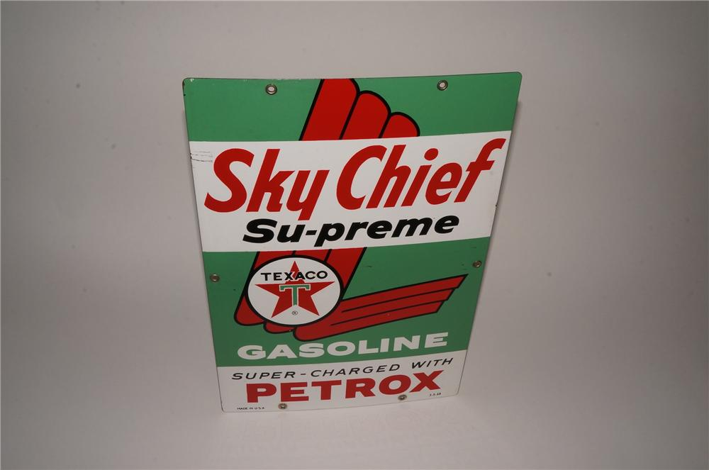 1963 Texaco Sky Chief Gasoline with Petro single-sided porcelain pump plate sign. - Front 3/4 - 163050