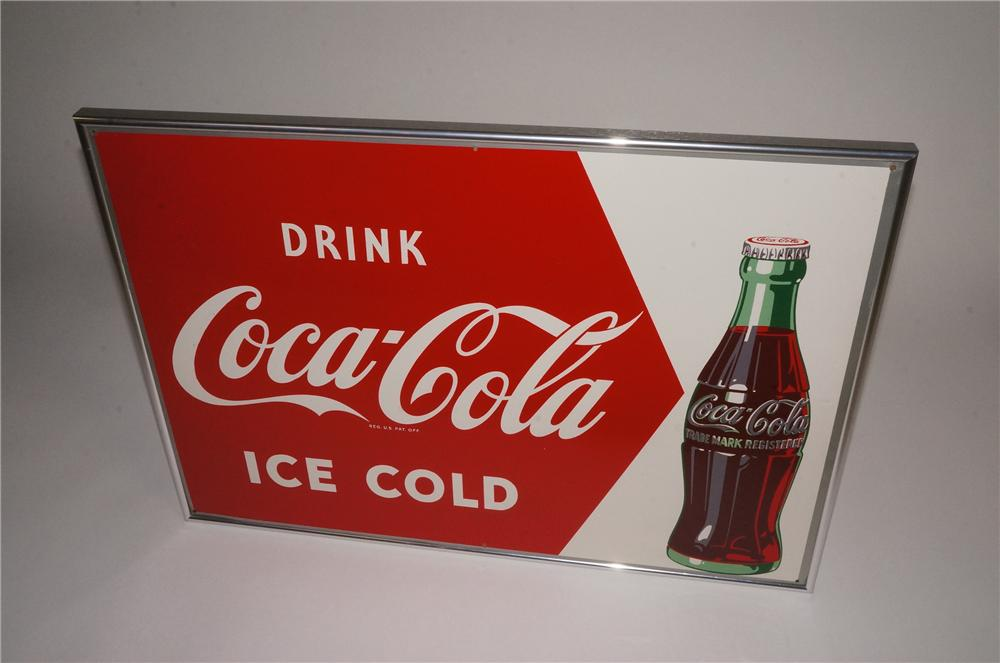 Choice N.O.S. 1952 Drink Coca-Cola Ice Cold tin sign with bottle graphic. - Front 3/4 - 163051