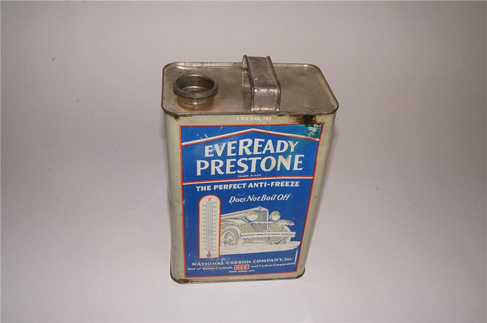 1930's Eveready Prestone Anti-Freeze solder seamed one gallon tin with nice graphics. - Front 3/4 - 163055