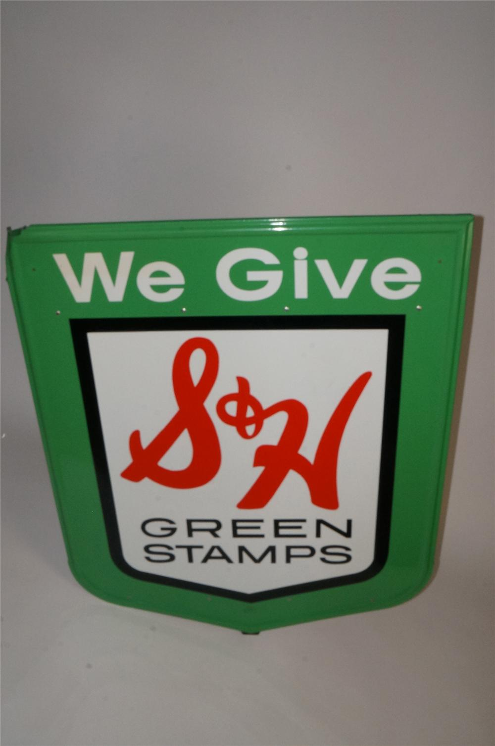 Sharp vintage S&H Green Stamps single sided self framed tin service station sign. - Front 3/4 - 163056