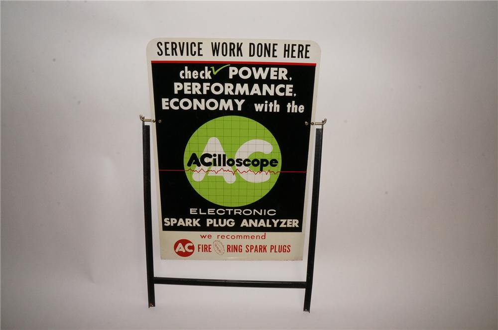 "Amazing N.O.S. early 1960's AC Acilloscope ""Service Work Done Here"" double-sided tin automotive garage curb sign. - Front 3/4 - 163059"