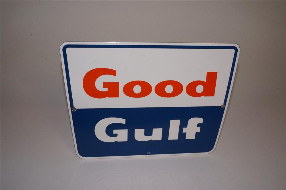 N.O.S. late 1950's-early 60's Good Gulf Gasoline porcelain pump plate sign. - Front 3/4 - 163061