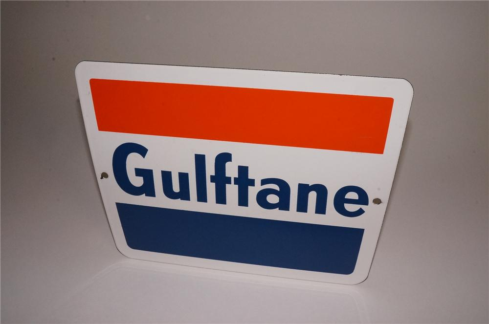 N.O.S. early 1960's Gulf Oil Gulftane porcelain pump plate sign. - Front 3/4 - 163062