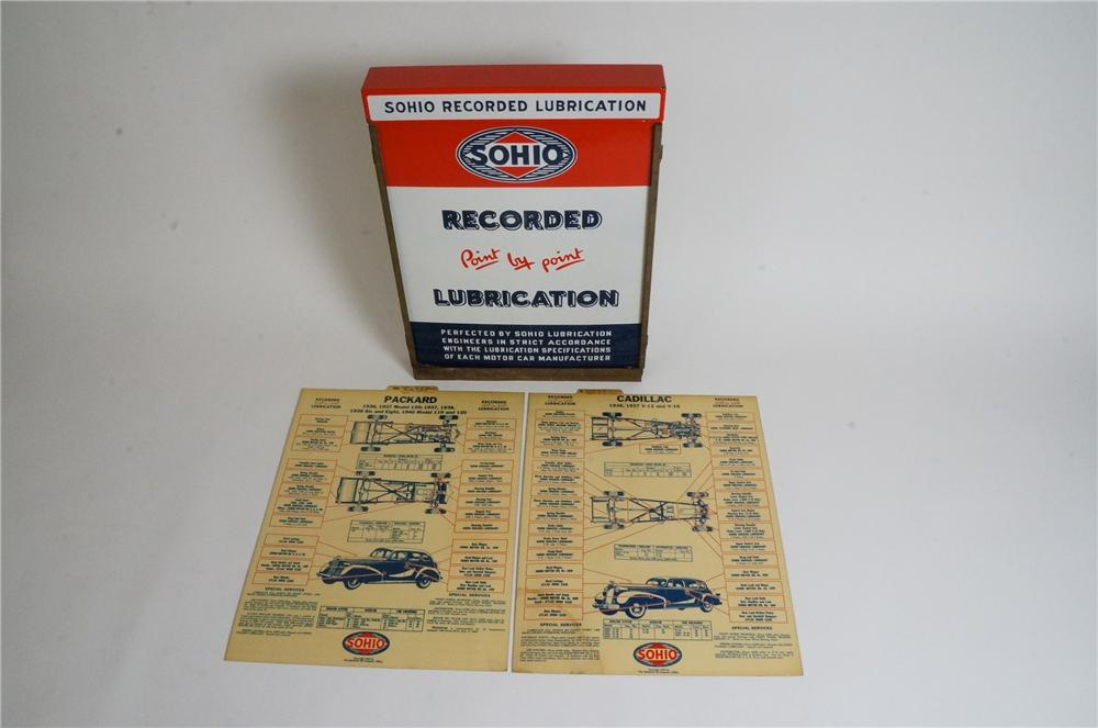 Never before seen 1940 Sohio porcelain service department lubrication chart holder. - Front 3/4 - 163064