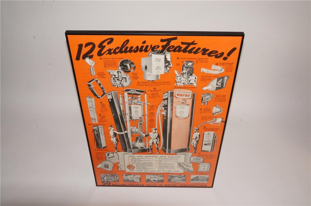 Choice late 1940's Wayne Manufacturing poster featuring the 12 advantages of a Wayne gas pump. - Front 3/4 - 163065