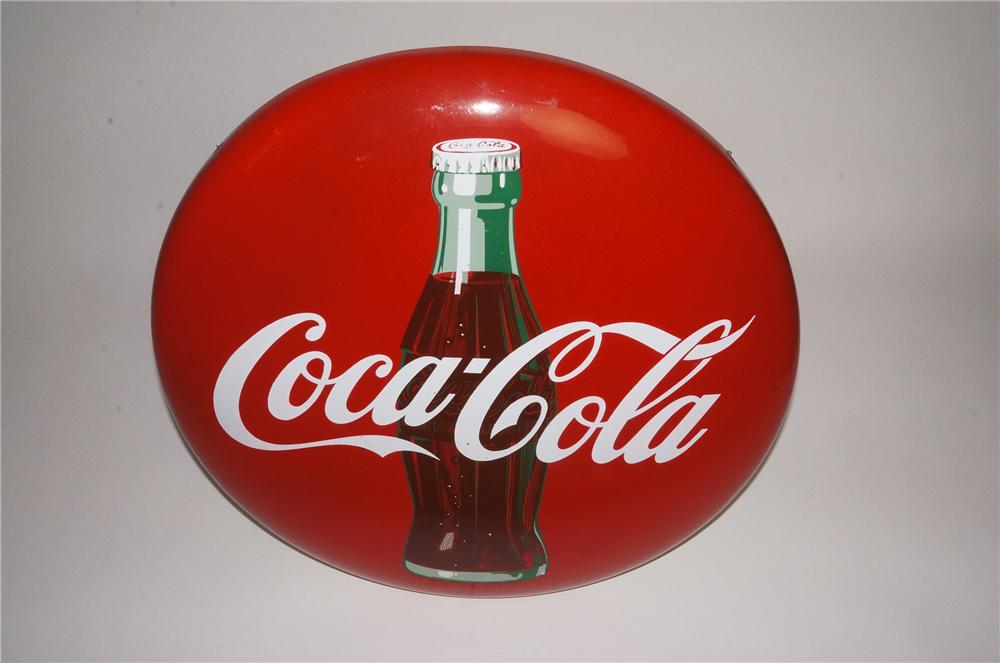 N.O.S. 1950's Coca-Cola porcelain button sign with bottle graphic. - Front 3/4 - 163067