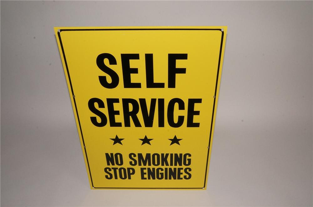 """N.O.S. Pennzoil Motor Oil """"Self Service - Stop Engines"""" single-sided tin painted automotive garage sign. - Front 3/4 - 163070"""