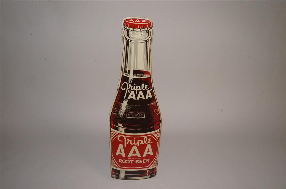 N.O.S. 1948 Triple A Root Beer die-cut bottle shaped tin sign. - Front 3/4 - 163081